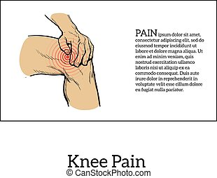 Color illustration of knee pain Hands holding leg -...