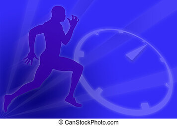 Running Against Time - Silhouette of a running man over blue...