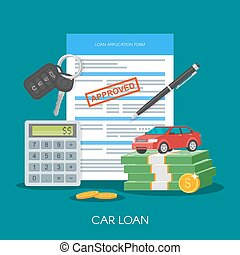 Approved car loan vector illustration. Buying automobile concept. Auto keys, money, application form