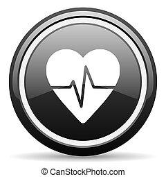 pulse black circle glossy web icon