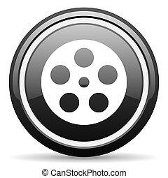 film black circle glossy web icon