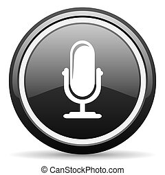 microphone black circle glossy web icon