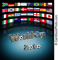 World cup - 3D video wall with the flag of the countries...