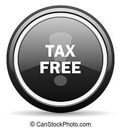 tax free black circle glossy web icon