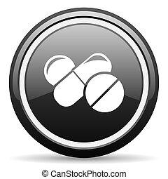 medicine black circle glossy web icon