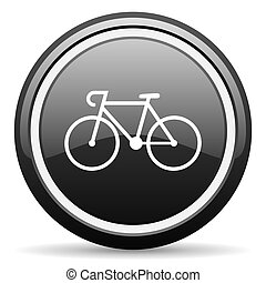 bicycle black circle glossy web icon