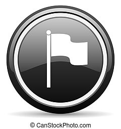 flag black circle glossy web icon