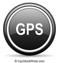 GPS, negro, círculo, brillante, tela, icono,