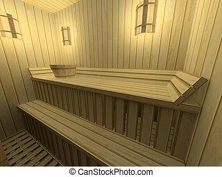 modern sauna - Interior of a modern sauna in hotel 3d...
