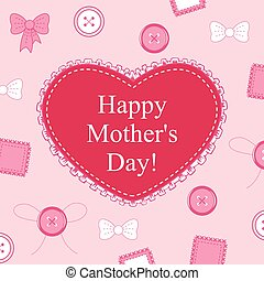 Mothers day card with heart lace on decorative pink background
