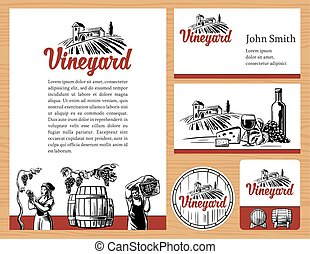 Wine concept design. Corporate identity. Logotype, business cards, brochures, label, presentations. Rural landscape, vineyard fields and hills, bottle, glass, barrel, harvest the grapes.