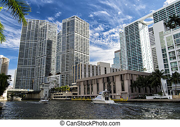 Seascape with skyscrapers in Bayside - Downtown Miami along...
