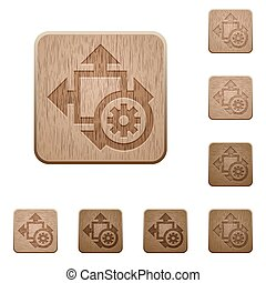 Size settings wooden buttons - Set of carved wooden size...