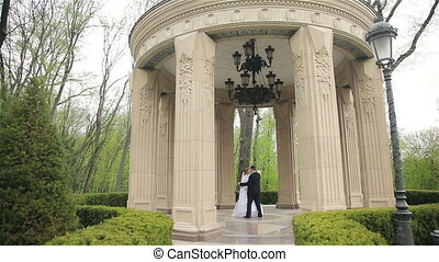 bride and groom dancing in the beautiful park - Young bride...