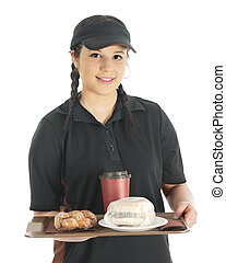 Your Breakfast is Ready - A pretty young waitress bringing...