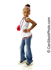 Young Patriot with Attitude - Full length image of a sassy...