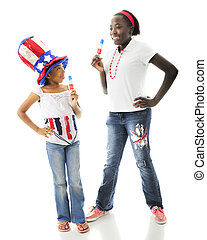 American Popcicle Fun - Two African American sisters...