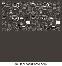 Doodle hand drawn seamless pattern with coffee