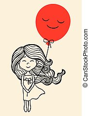 Little Girl - Hand drawn little girl with red balloon