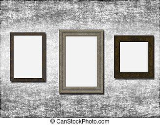 tres, vacío, marcos, gris, viejo, pared