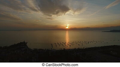 Aerial view on wonderful panoramic view on sunset over...