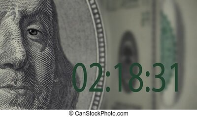 Franklin time is money - digital timer Franklin portrait on...