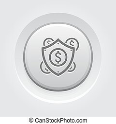 Secure Transactions Icon Business Concept Grey Button Design...
