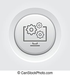 Data Management Icon Business Concept Grey Button Design