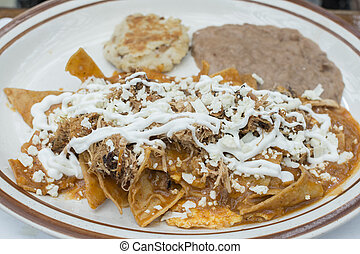 Chilaquiles Mexican breakfast dish - Fresh made Mexican...