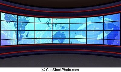 News TV Studio Set -129 - News TV Studio Set 129 - Virtual...