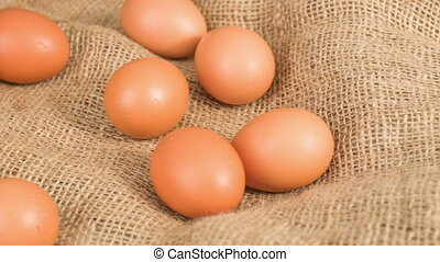 Chicken eggs before cooking lying on the table. - Fresh...