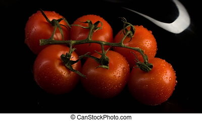Ripe tomatoes lying on the plate - Temptation to eat Ripe...