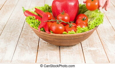 Making healthy choice of food. - Tasty vegetables. Pottery...