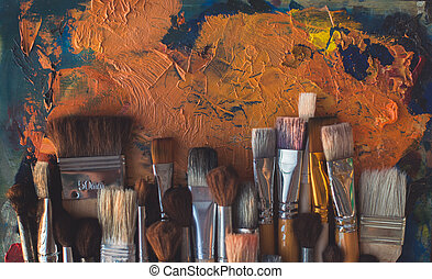 Top view picture of wooden paintbrush set different size...