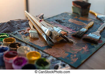 Drawing classes tools in art studio Angle view photo of...