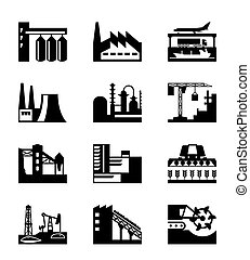 Different industrial plants - vector illustration