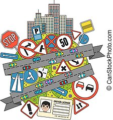 Traffic Signs And Regulations - Colorful doodle Illustration...