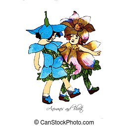 Flower Children Anemones and Bluets - Flower children...