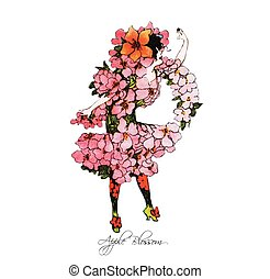 Flower Children Apple Blossom - Flower children illustration...