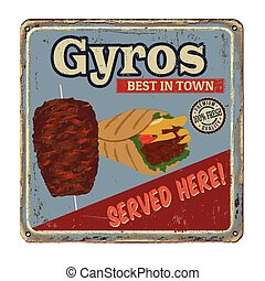Gyros vintage rusty metal sign on a white background, vector...