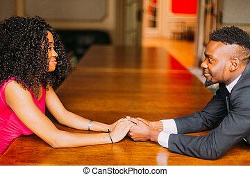 Paar, Hände, junger, Besitz, afrikanisch, Porträt