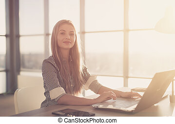 Woman blogging in spacious office using computer on her...