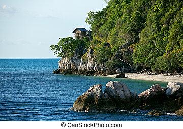 a hut on tropical birds nest island