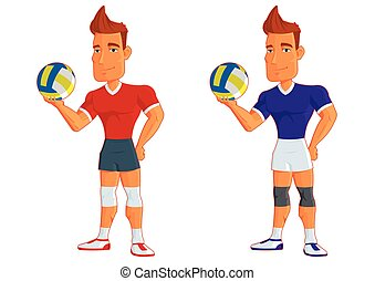 young cartoon volleyball players. vector isolated character.