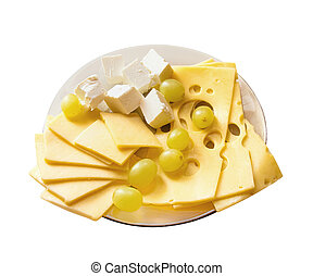 Dish with different kinds of the cheese, isolated on a white background