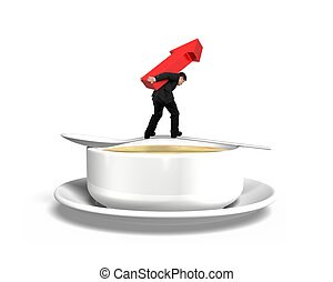 Man carrying arrow up balancing on spoon with soup bowl