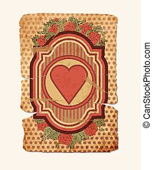 Vintage hearts card, vector illustration