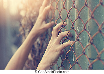 Hands of a woman on mesh cage, escape concept, filter image