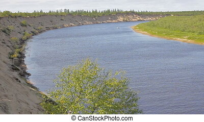 Siberian river with steep banks and Sand martins - Panorama...