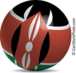 Kenya flag on a 3d ball with shadow, vector illustration